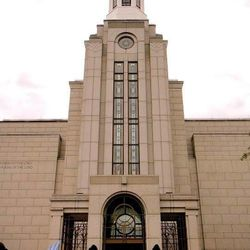 Liza Morong stands outside the Boston Temple.