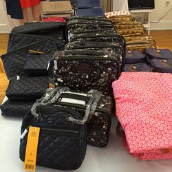 Cosmetic cases, $25 (pink scarf, $35)