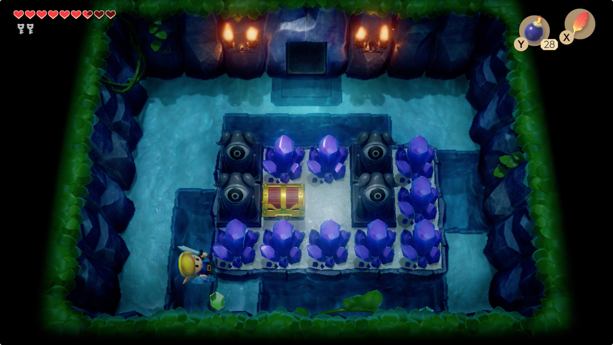 Link's Awakening Angler's Tunnelsmash the purple crystals for a Small Key