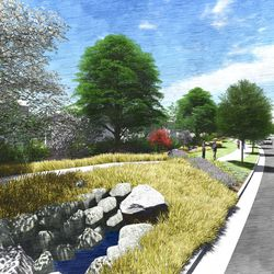 A 30-foot-wide open space trail system on the north/south corridor road, looking north. This is an artist's rendering of a portion of the planned residential community near the site of the Tooele Valley Utah Temple.