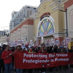 Members of Local 54 of the Unite_HERE union protest outside the Tropicana Casino and Resort in Atlantic City N.J. on April 5, 2012. The union is fighting the casino's plan to terminate the pension plan for workers in favor of making direct cash payments to them.