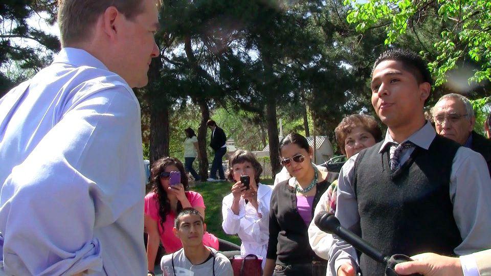 U.S. Sen. Michael Bennet, D-Colo., spoke Friday with undocumented student Luis Castaneda.