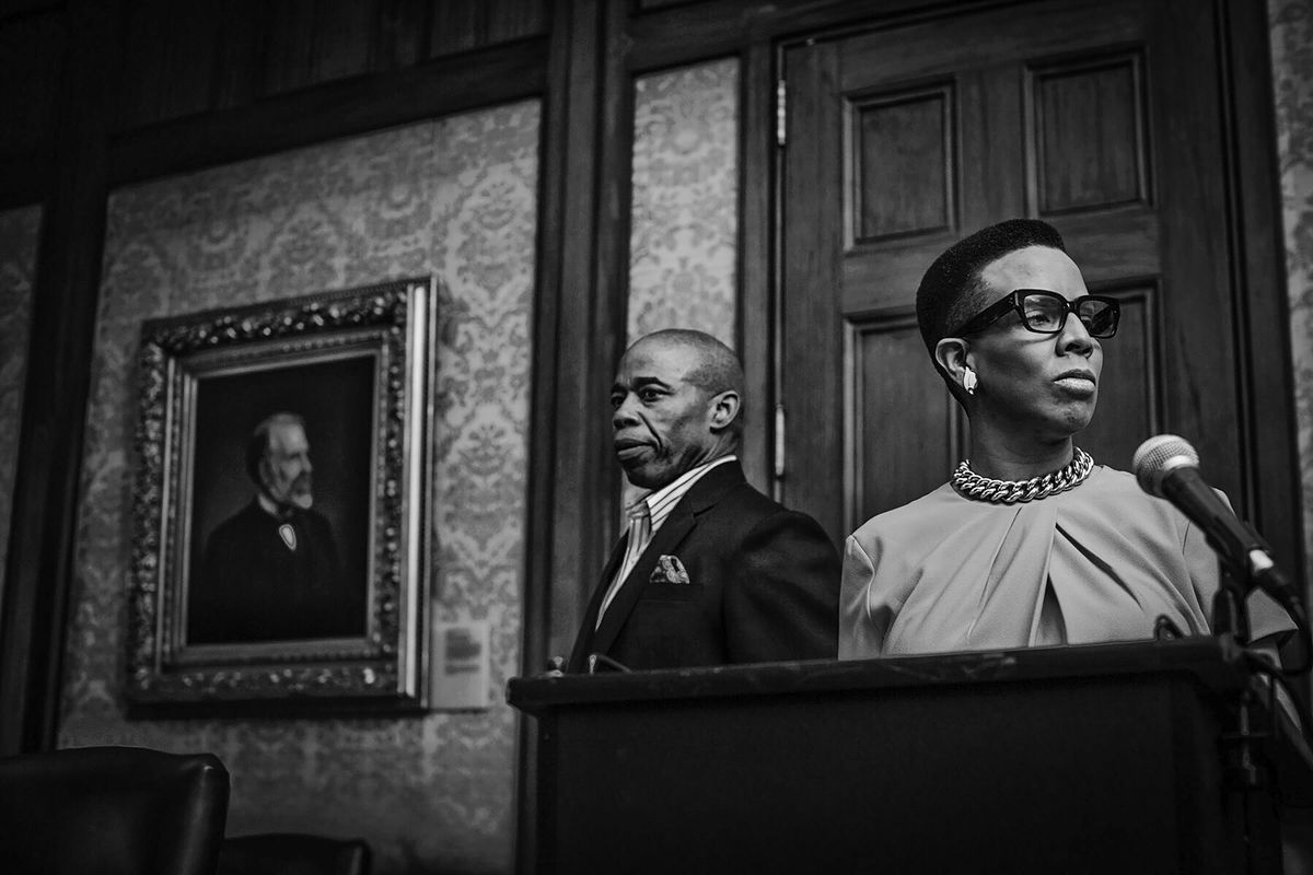 Council Member Laurie Cumbo in 2017, with Brooklyn Borough President Eric Adams at Brooklyn Borough Hall before announcing demands for Bedford-Union Armory development project.
