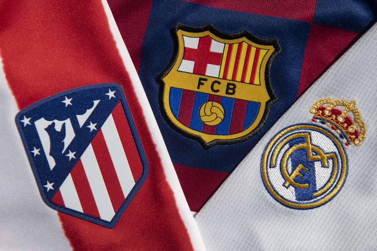The Atlético Madrid, FC Barcelona and Real Madrid Club Badges