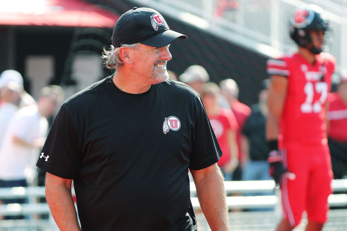 Utah head coach Kyle Whittingham watches warmups during the opener at Rice-Eccles Stadium in Salt Lake City, Sept. 2, 2021.
