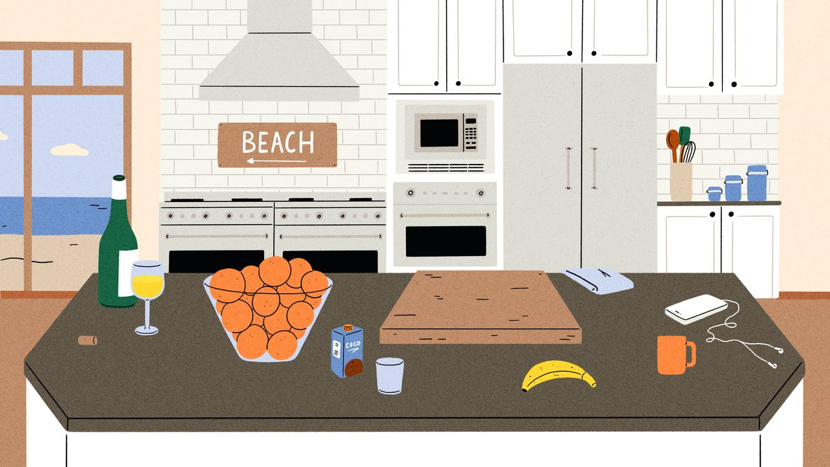 Illustration of a kitchen with gray island and appliance.s