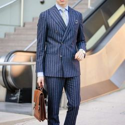 """Blake of <a href=""""http://www.anythingandeverythingla.com""""target=""""_blank"""">Anything & Everything LA</a> is wearing a <a href=""""http://us.suitsupply.com/en_US/suits/soho-blue-stripe/P3734.html?start=12&q=soho""""target=""""_blank"""">Suit Supply</a> suit, a <a href=""""h"""