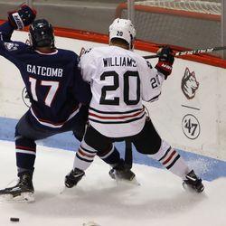 The UConn Huskies take on the Northeastern Huskies in men's college hockey game at Matthews Arena in Boston, MA on November 9, 2018.