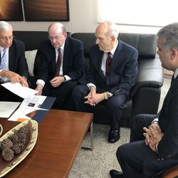 From left, Elder Enrique R. Falabella, General Authority Seventy, Elder Quentin L. Cook of the Quorum of the Twelve Apostles and President Russell M. Nelson of The Church of Jesus Christ of Latter-day Saints meet with Colombia President Iván Duque Márquez, right, in Bogota, Colombia, Monday Aug. 26, 2019.