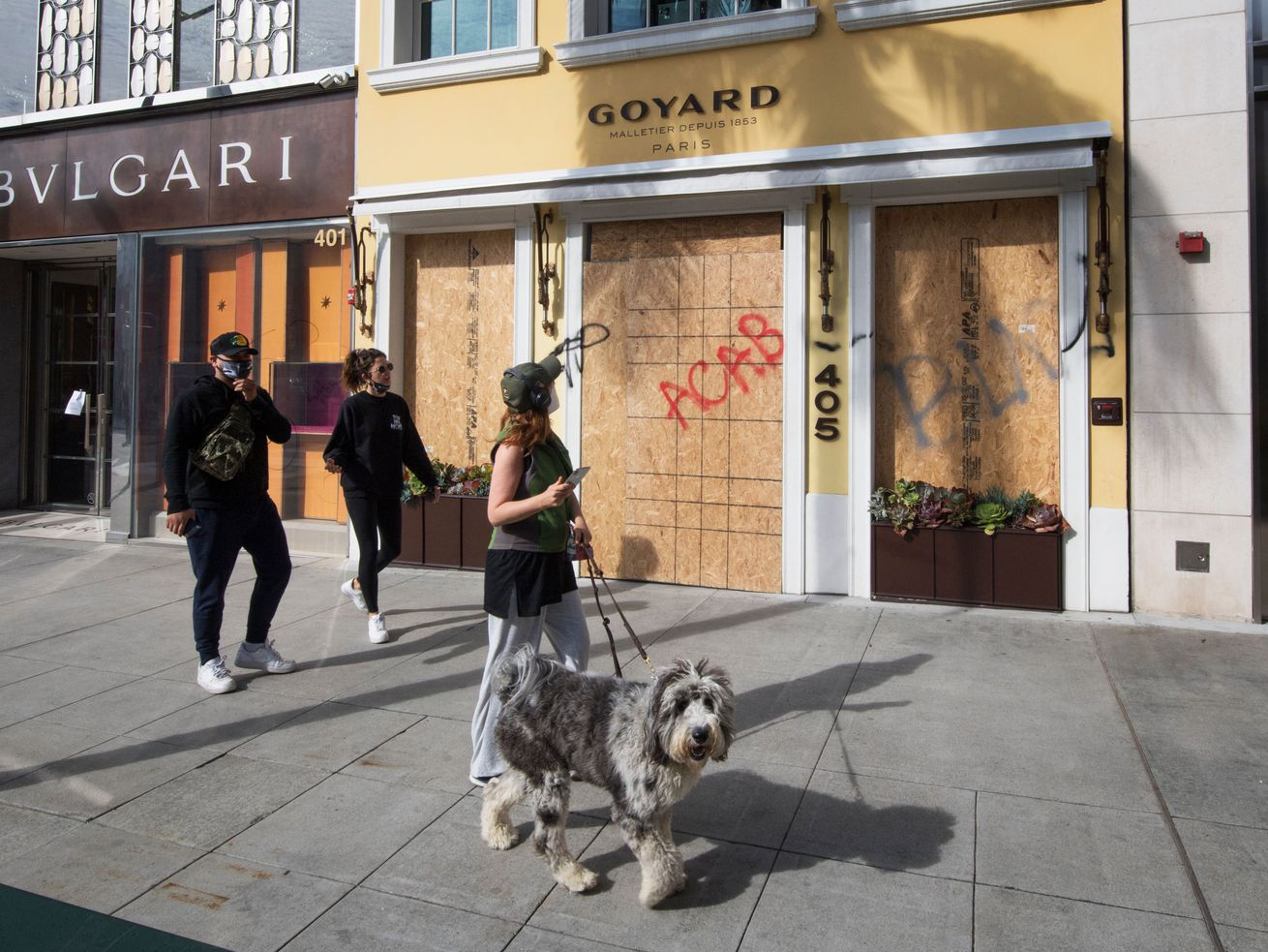 "A woman with a gray white dog on a leash looks up at a boarded up Goyard storefront spray-painted with ""ACAB."""