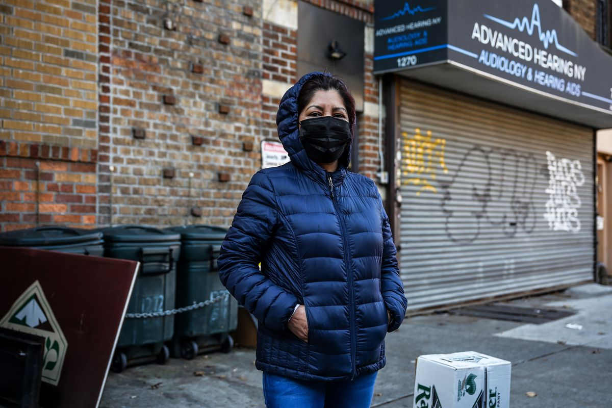 """""""I've been coming here since the start of the pandemic when I was left jobless,"""" said Rufina Lopez about picking up food at the Masbia pantry in Borough Park."""