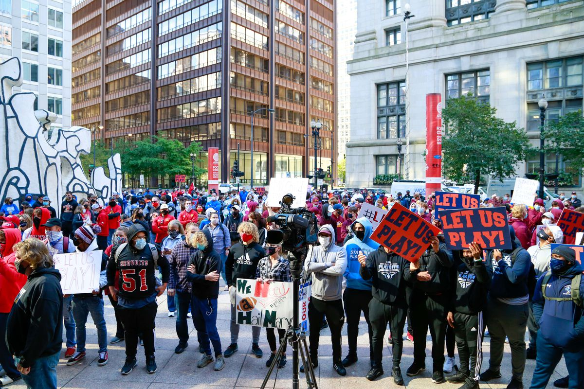 Protesters gather together at the Let Us Play protest at the Thompson Center last month.