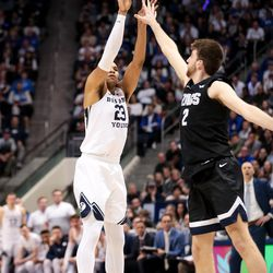 Brigham Young Cougars forward Yoeli Childs (23) shoots over Gonzaga Bulldogs forward Drew Timme (2) at the Marriott Center in Provo on Saturday, Feb. 22, 2020.