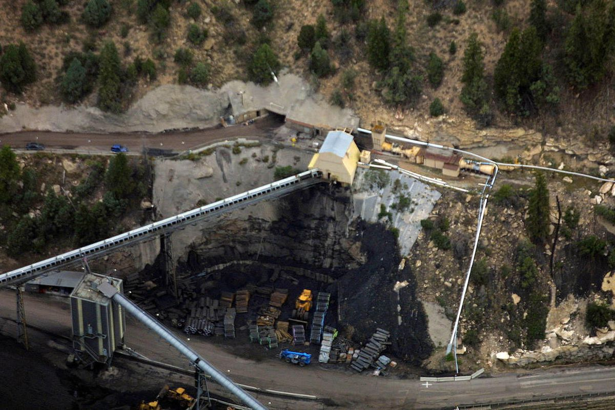 Aerial views of the Crandall Canyon mine and drilling operation near Huntington, Friday, August 17, 2007.