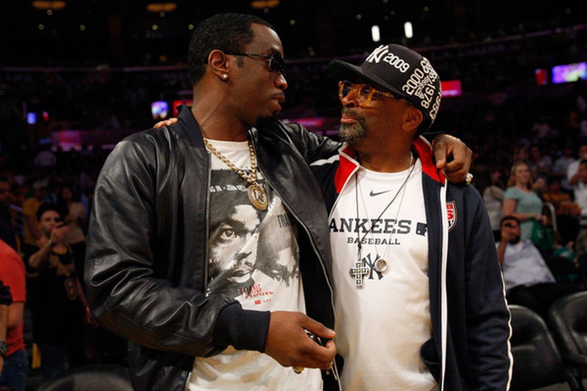 LOS ANGELES, CA - JUNE 15:  Sean 'Diddy' Combs and director Spike Lee talk during half time of Game Six of the 2010 NBA Finals between the Boston Celtics and the Los Angeles Lakers at Staples Center on June 15, 2010 in Los Angeles, California.