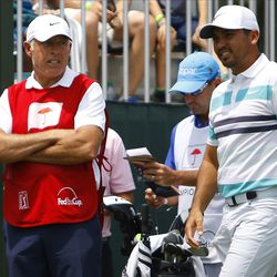 Stevie Williams and Jason Day chat on the first tee in the the 2019 Travelers Championship Third Round at the TPC River Highlands in Cromwell, CT on June 22, 2019.