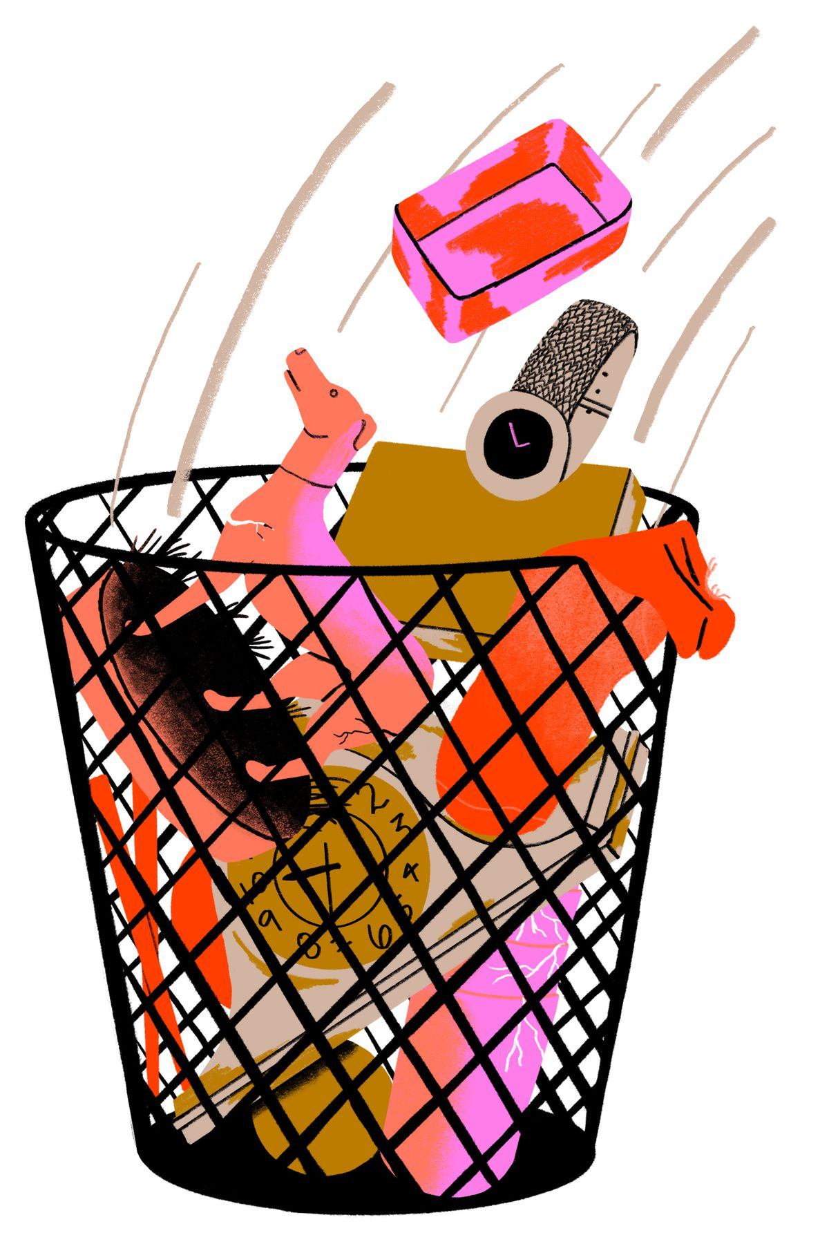 A lot of random items like a soap dish, dog statue, and vintage watch being tossed in a wire trash bin. Illustration.