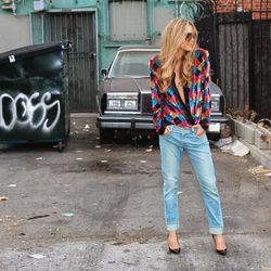 """Christa of <a href=""""http://www.fashionorfamine.com """"target=""""_blank"""">Fashion or Famine</a> is wearing Frame jeans and a vintage sequin blazer."""