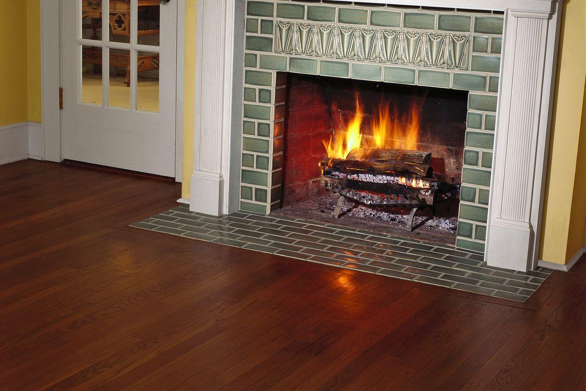 Newly Tiled Fireplace