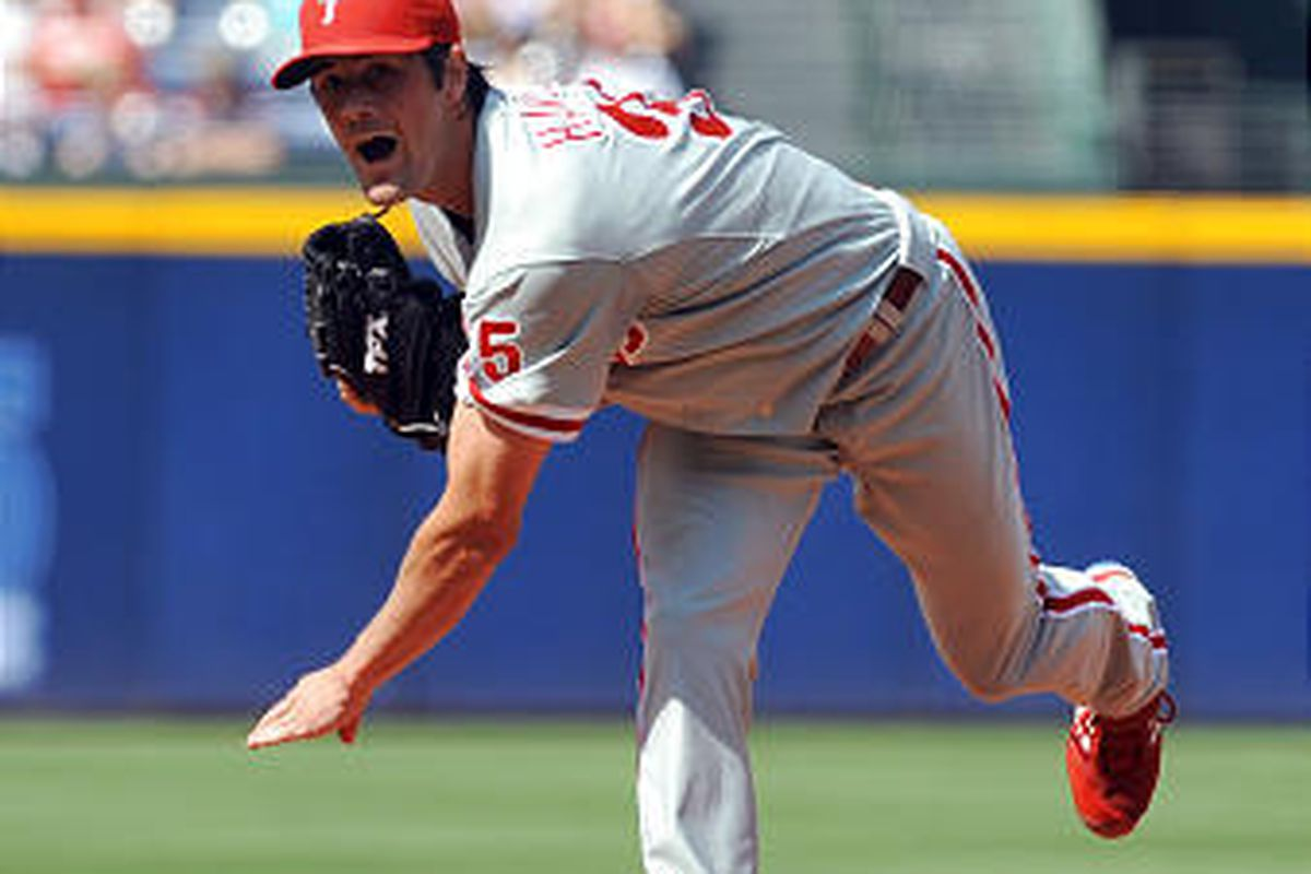 Philadelphia Phillies starter Cole Hamels delivers to the Atlanta Braves during the first inning.
