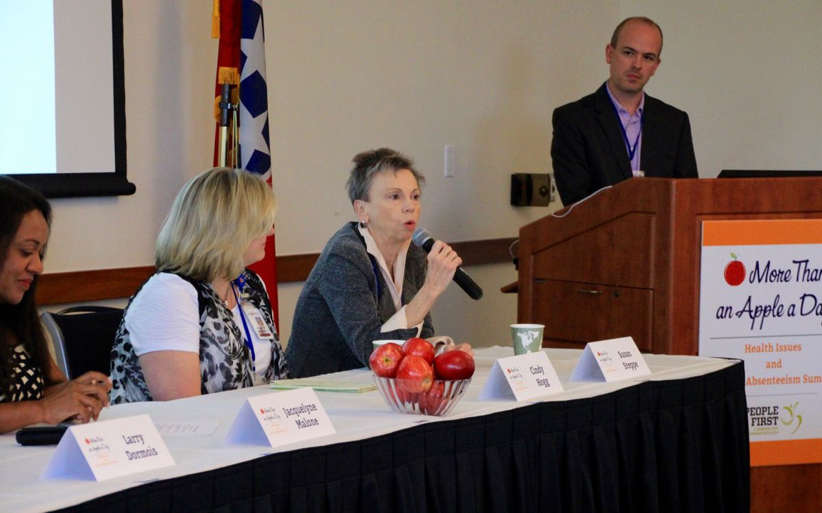 Panelists talk about chronic absenteeism and health at a summit spearheaded by PeopleFirst Partnership.