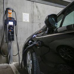 Chevrolet Volt charges in the parking lot of the Salt Lake Main Library in Salt Lake City on Wednesday, Feb. 8, 2017. HB29, a legislative proposal to keep electric vehicle tax credits alive but phase them out entirely six years from now remains a work in progress, with negotiations continuing between its sponsor and other lawmakers.