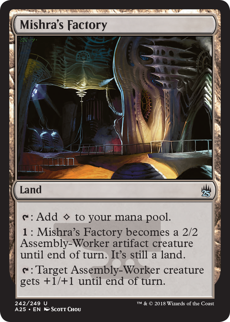 Mishra's Factory allows you to add clear mana to your pool. When mana is spent, the factory itself becomes an artifact creature. When tapped, it gains +1/+1.