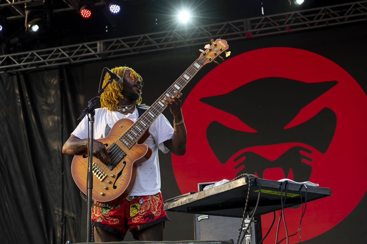Thundercat performs at the Red Stage at Pitchfork music festival at Union Park, Sunday, Sept. 12, 2021.