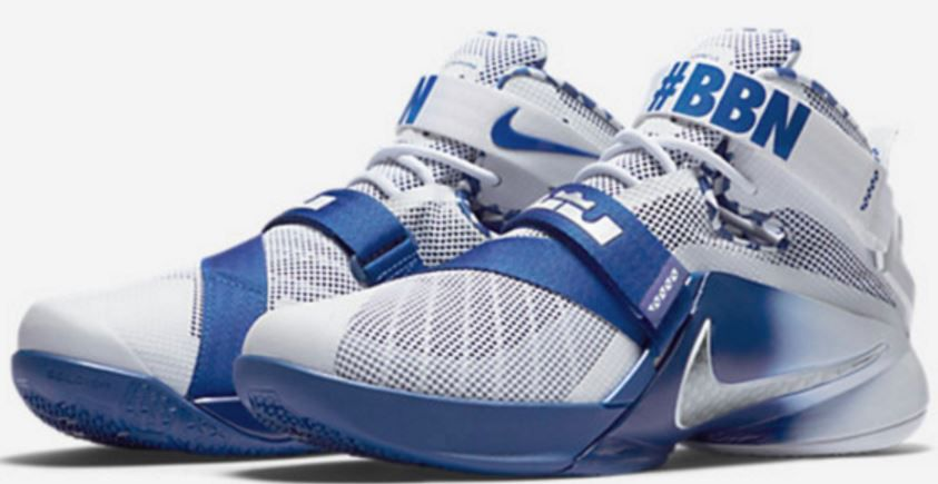 bb0c20ac869 The UK version of the LeBron Zoom Soldier 9 comes with a white and blue  makeup with a gradient effect on the midsole