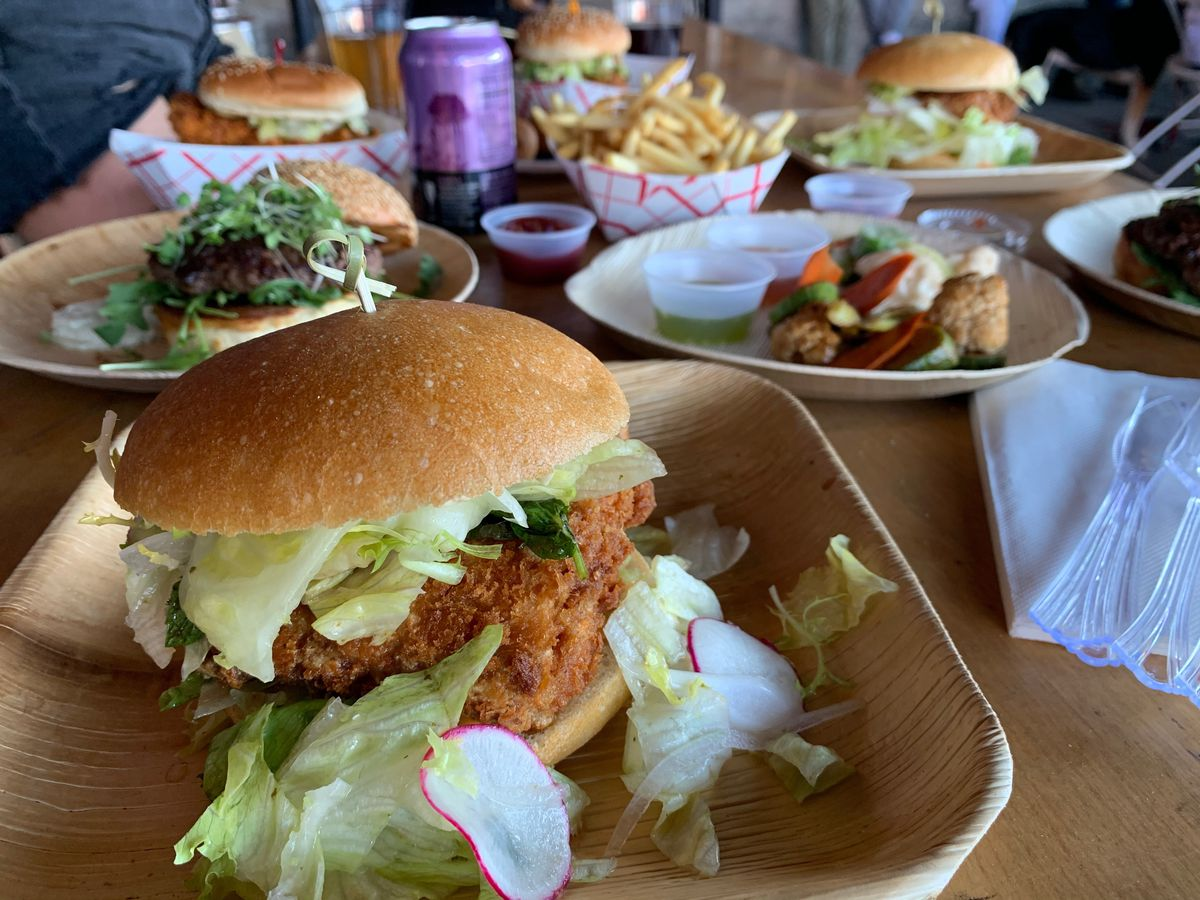 View of the Masabaga tuna belly burger, which gets breaded and fried like tonkatsu