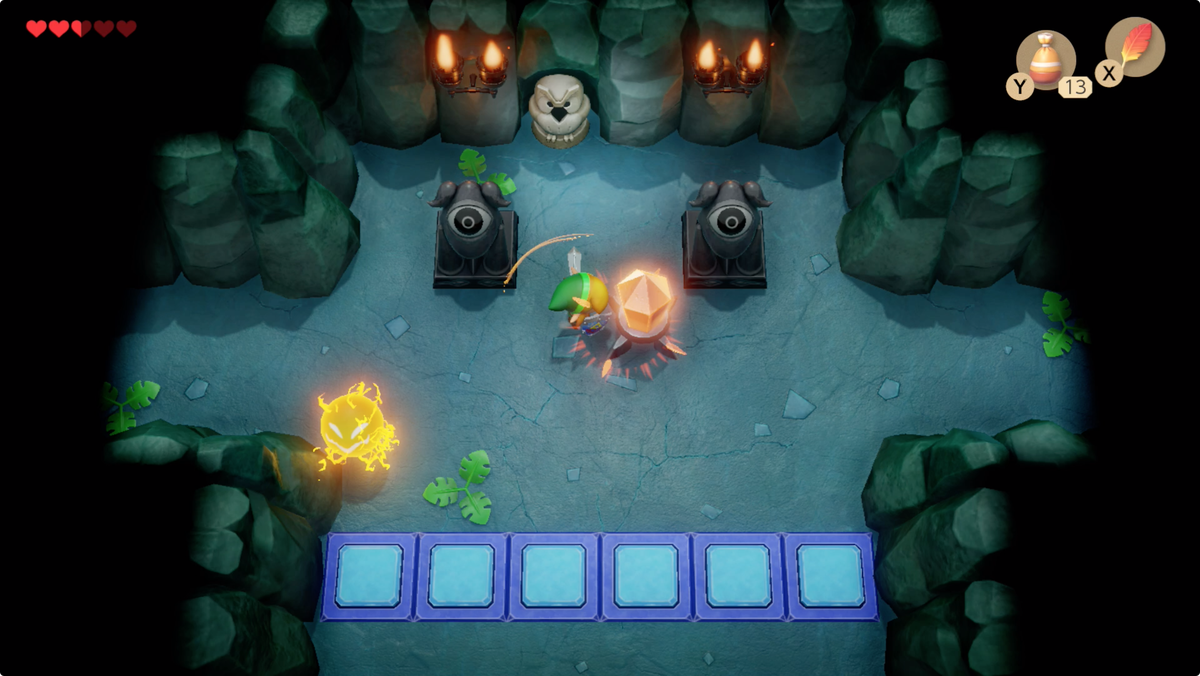 Link's Awakening Bottle Grotto strike the crystal to lower the blue tiles