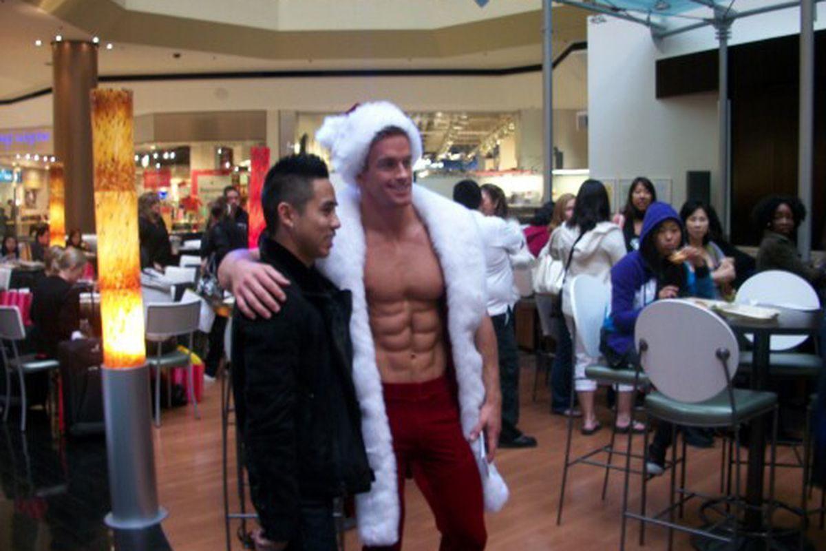 Hunky Santa presides over the free Energy Breakfast at the Beverly Center on Friday morning