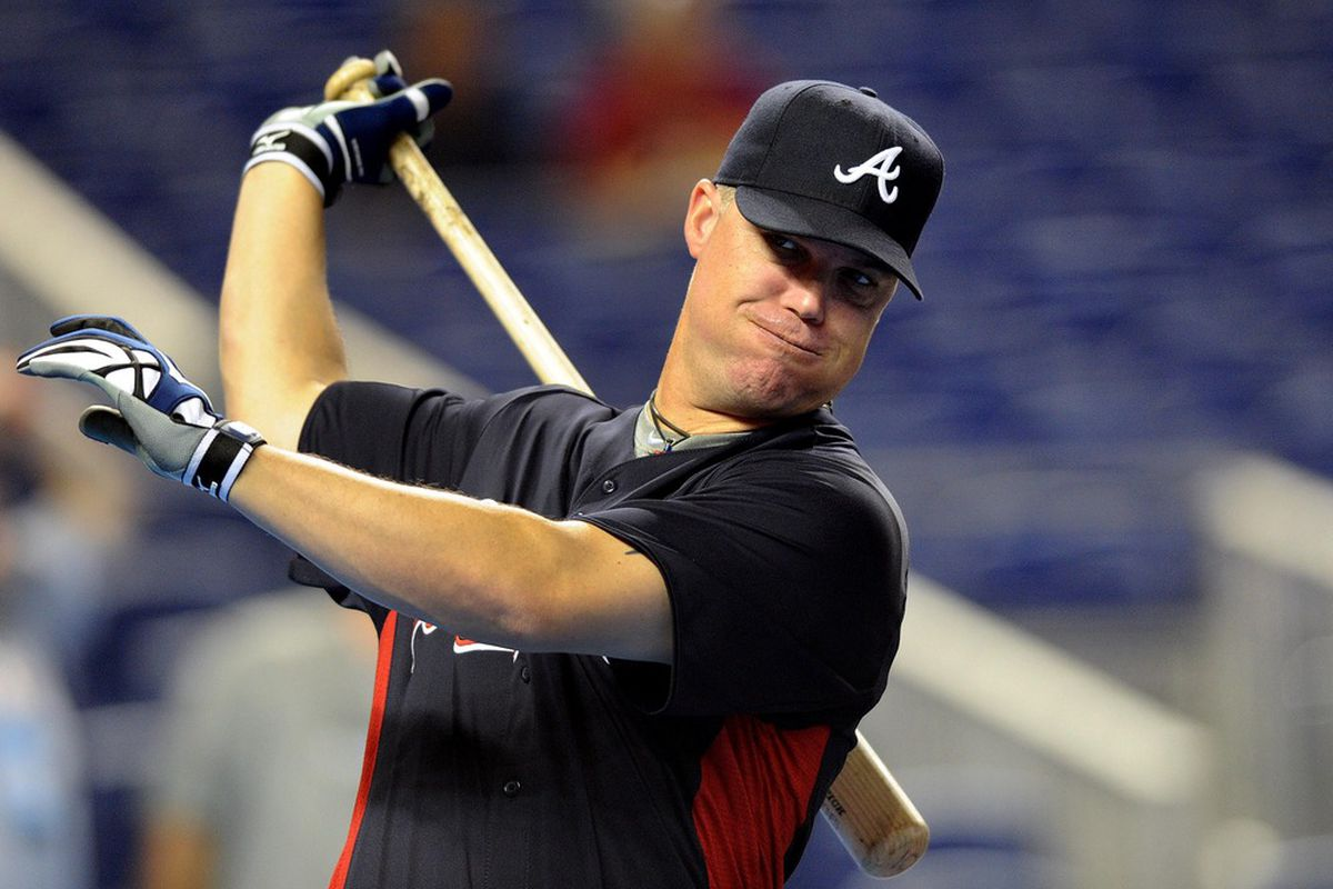 June 7, 2012; Miami, FL, USA; Atlanta Braves third baseman Chipper Jones (10) takes some practice swings before a game against the Miami Marlins at Marlins Park. Steve Mitchell-US PRESSWIRE