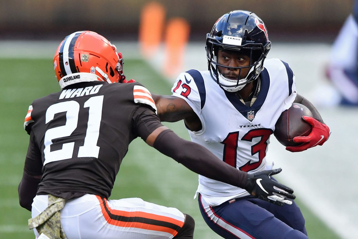 Brandin Cooks #13 of the Houston Texans runs with the ball against the Cleveland Browns at FirstEnergy Stadium on November 15, 2020 in Cleveland, Ohio.