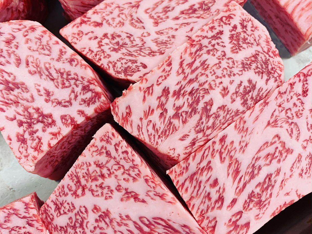 Raw wagyu steaks from Gozu