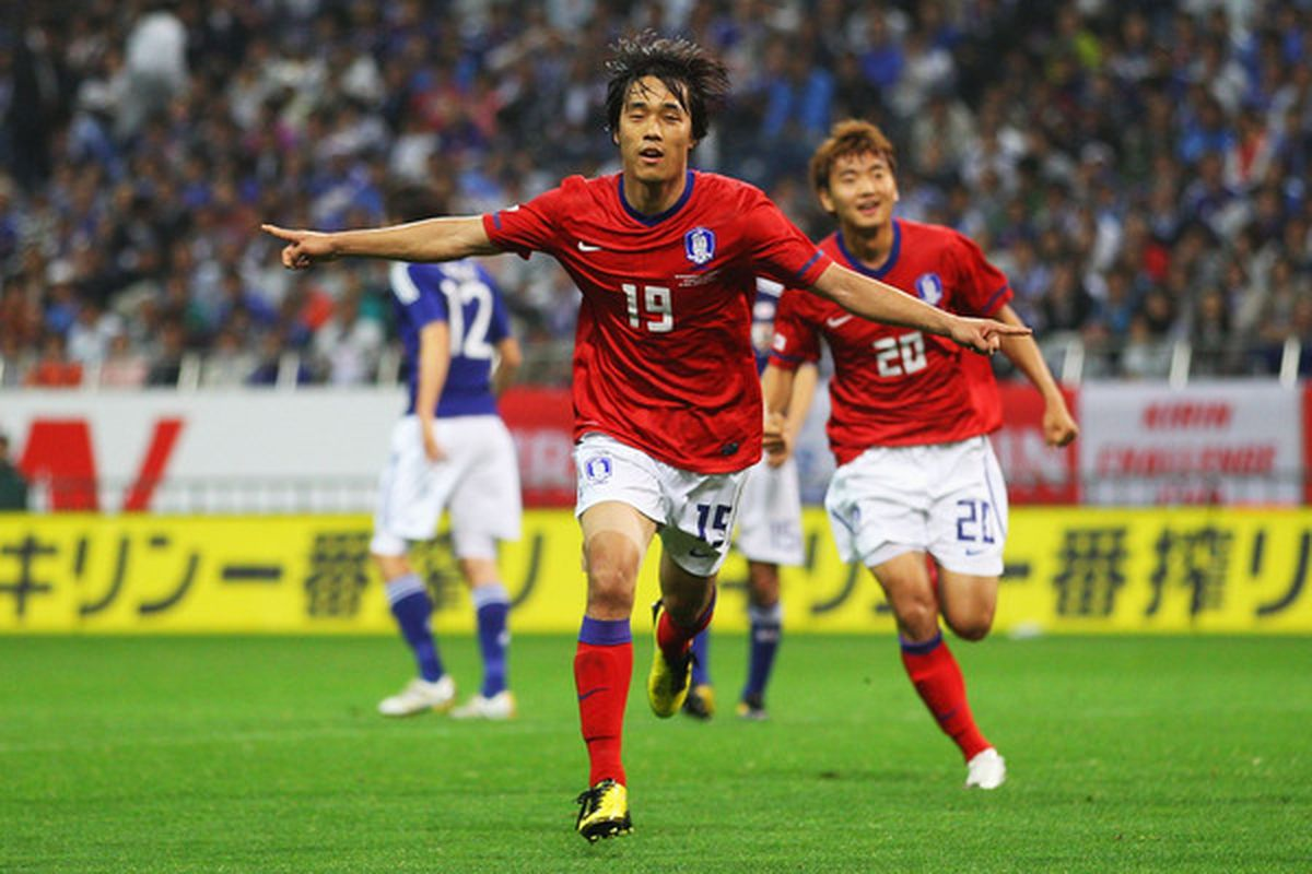 SAITAMA, JAPAN - MAY 24:  Park Chu Young of South Korea celebrates after scoring a goal during the international friendly match between Japan and South Korea at Saitama Stadium on May 24, 2010 in Saitama, Japan.  (Photo by Mark Kolbe/Getty Images)