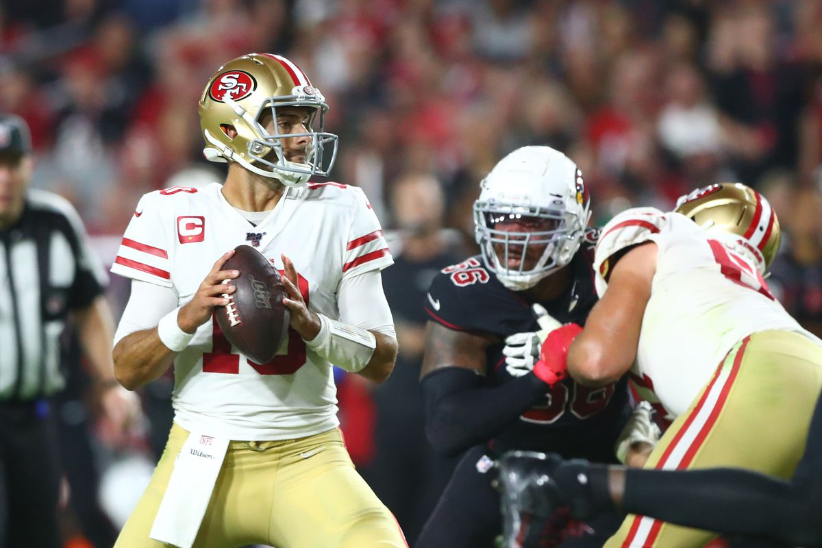 San Francisco 49ers quarterback Jimmy Garoppolo in the first half against the Arizona Cardinals at State Farm Stadium.