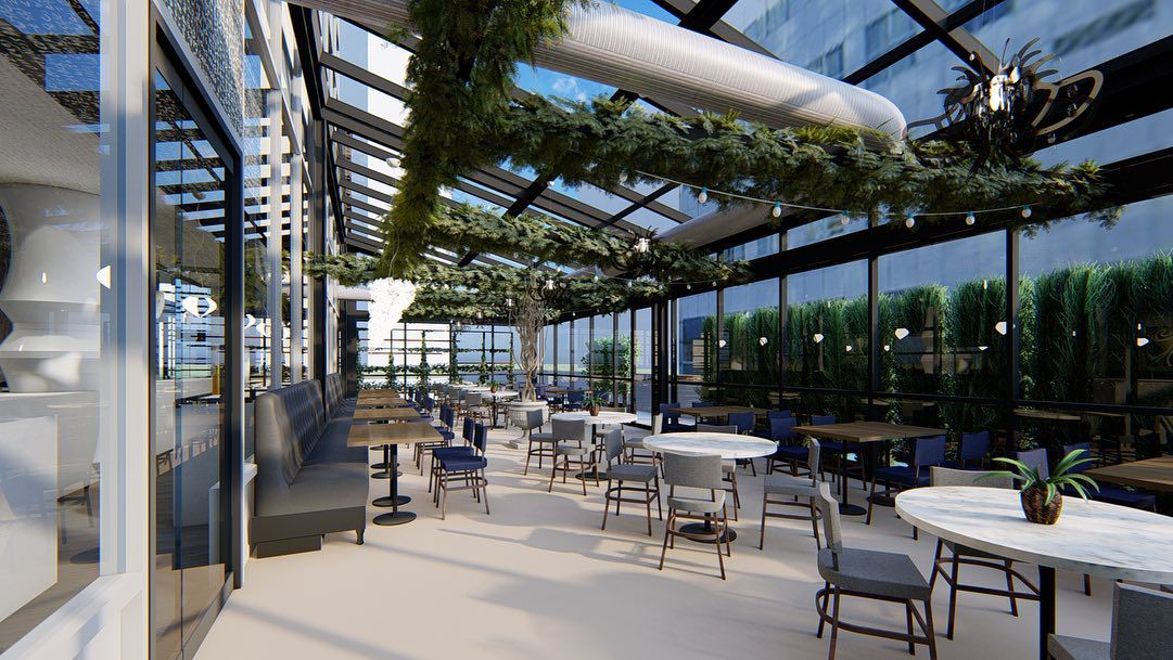 Rendering of the inside of the enclosed sunroom dining room encased with glass at 5Church in Buckhead Atlanta with greenery hanging form the ceiling