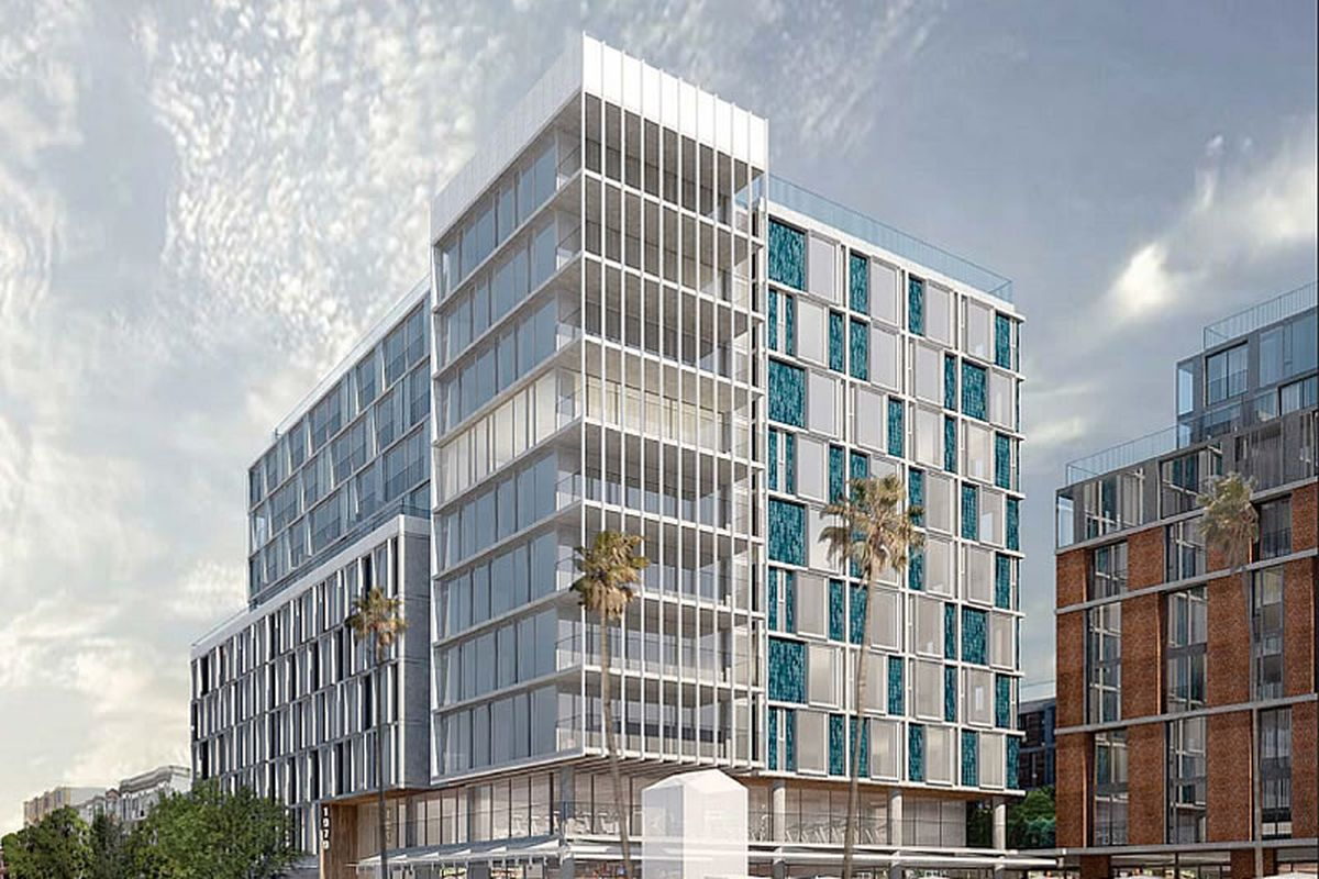 A rendering of a white, mid-rise building with drab exteriors of vertical lines.