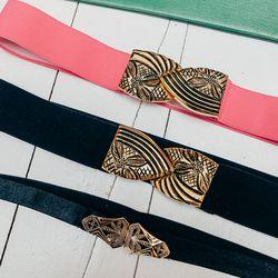 "Nona E Rose Atlantic Avenue Belts, <a href=""http://shop.thistleclover.com/collections/belts/products/nona-e-rose-atlantic-avenue-belt-more-colors-available"">$105</a>; Nona E Rose Daisy Deco Belt, <a href=""http://shop.thistleclover.com/collections/belts/pr"