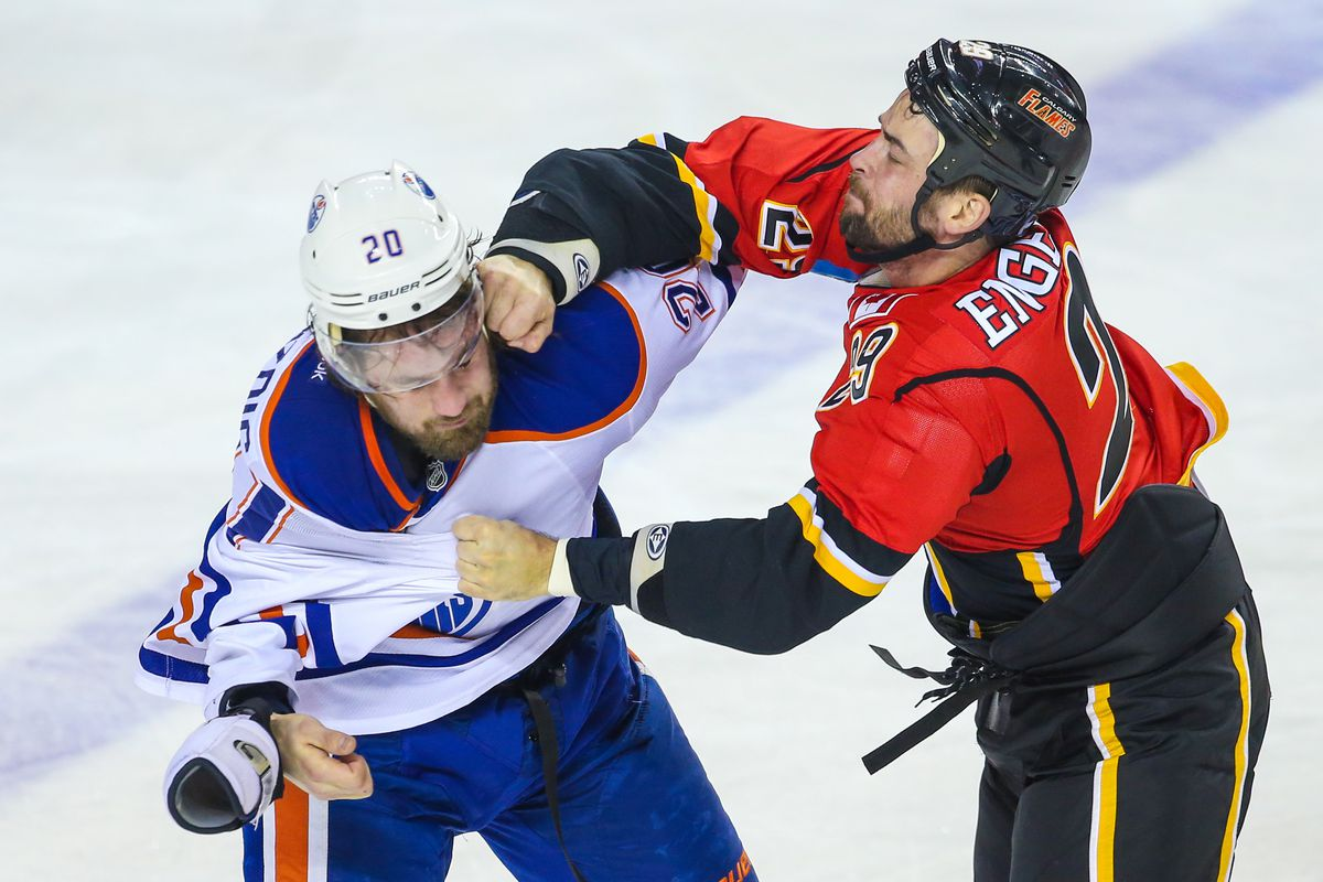Pretty much the game in one picture. The Oilers got completely pummeled by the Flames