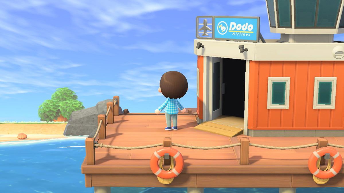 Animal Crossing: New Horizons - a player stands on the dock, looking at what appears to be an empty island