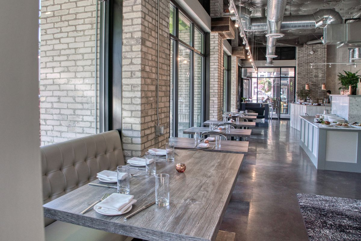Windows and seating at Haymaker.