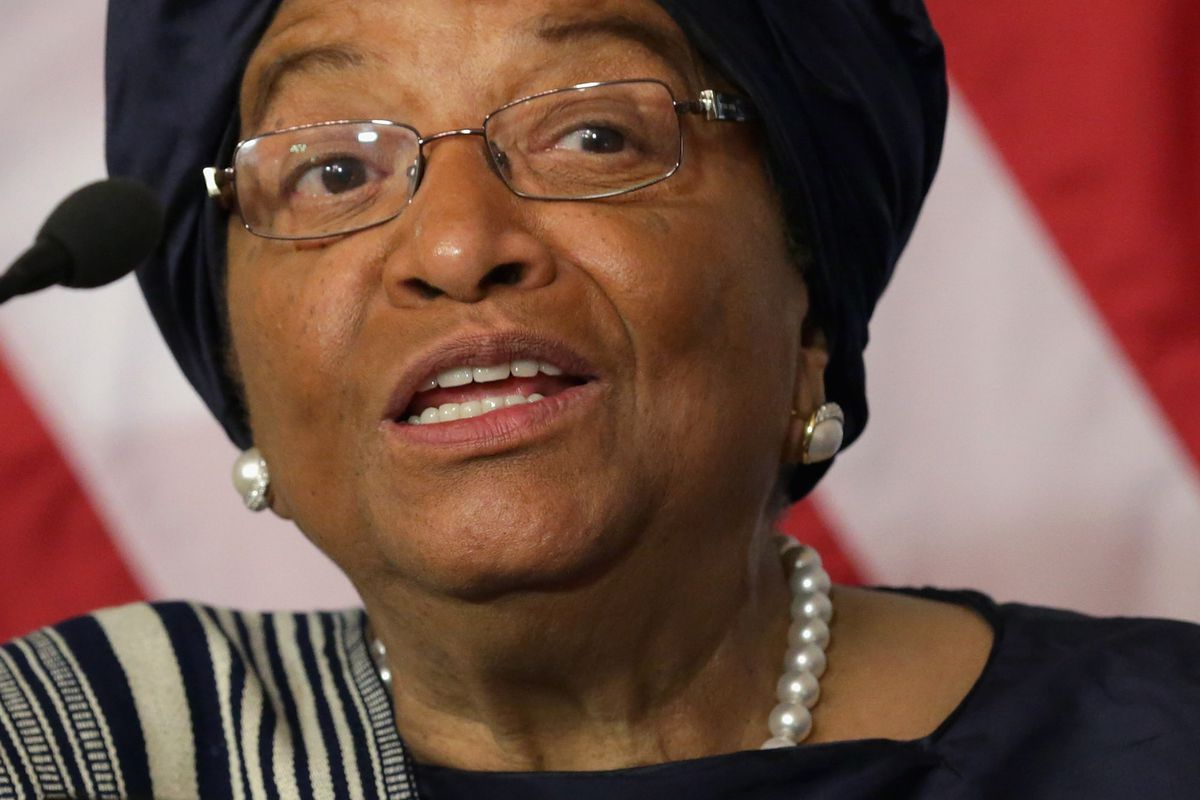 Liberian President Ellen Johnson Sirleaf in the Treaty Room at the Department of State February 27, 2015, in Washington, DC.