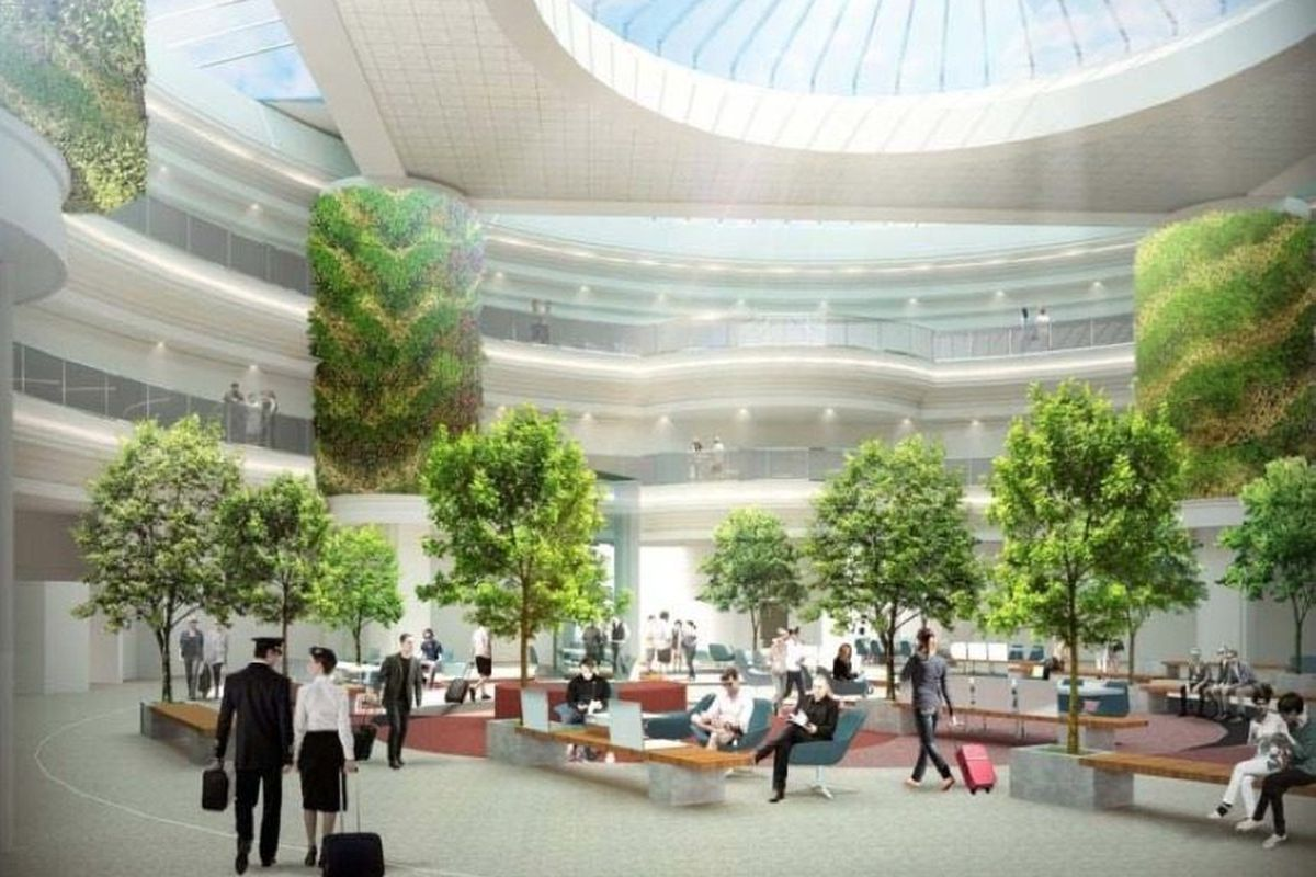 A new look for the central atrium of the airport. [All images by City of Atlanta / Hartsfield-Jackson International Airport; some via Atlanta Business Chronicle]
