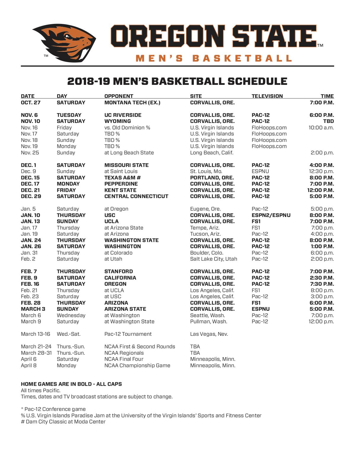oregon state basketball: beavers release full 2018-2019 schedule