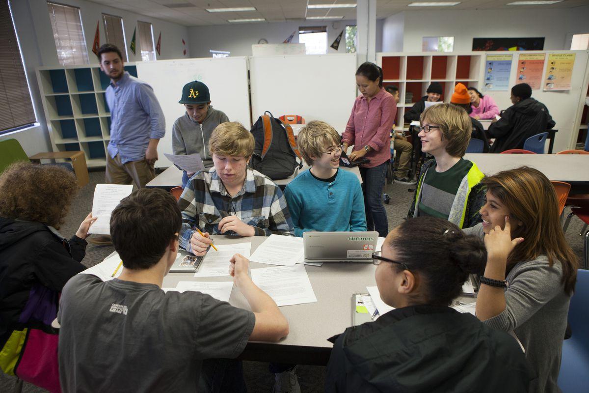 charter school 9th graders classroom