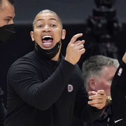 Los Angeles Clippers head coach Tyronn Lue gestures during the second half in Game 6 of a second-round NBA basketball playoff series against the Utah Jazz Friday, June 18, 2021, in Los Angeles.