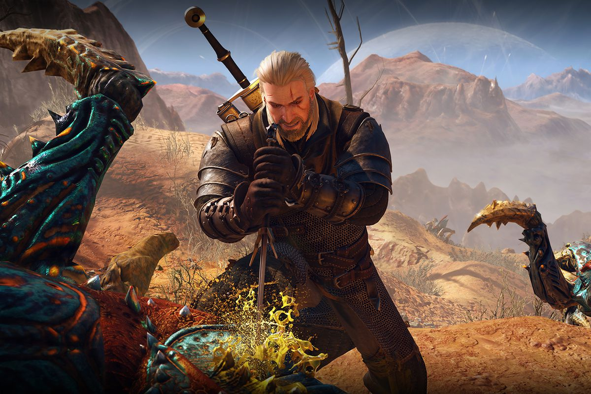 The Witcher 3: Wild Hunt - Geralt stabs a monster as another one watches in the background