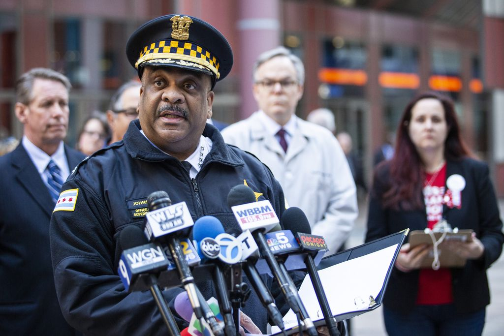 Chicago police Supt. Eddie Johnson speaks at a news conference Tuesday outside the Thompson Center about the proposed Fix the FOID Act that would, among other steps, require more extensive background checks for gun buyers, including fingerprints. Johnson